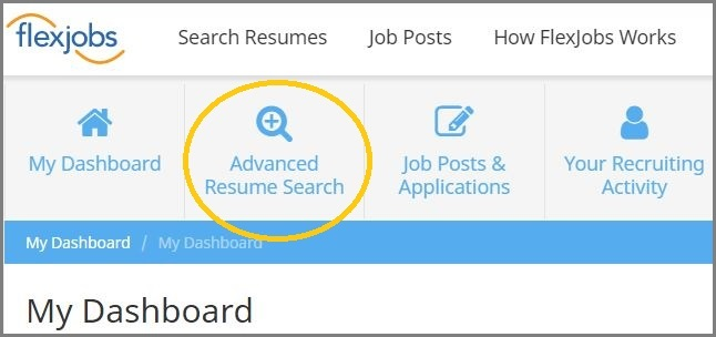go to the advanced resume search page
