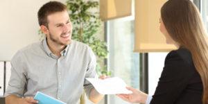 Employer conducting job interviews