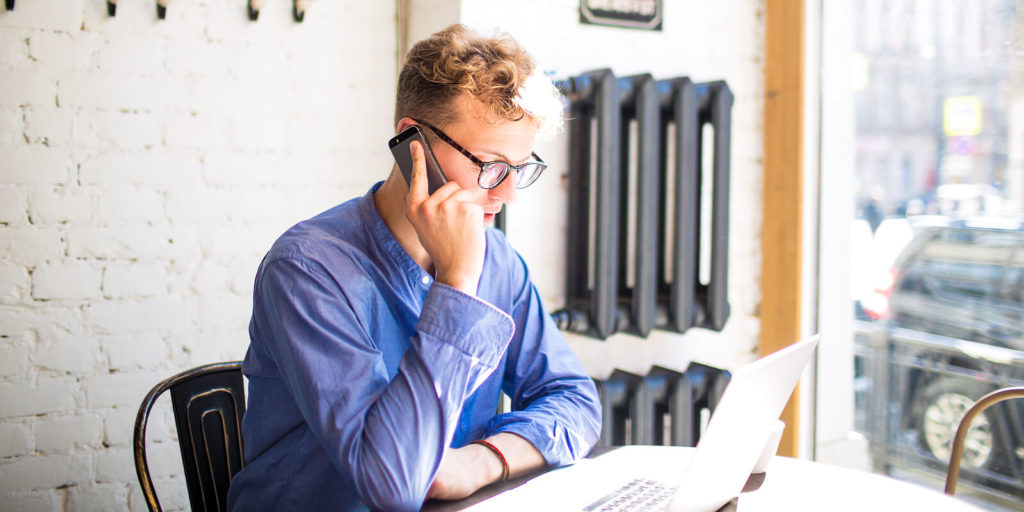 Man trying to hire freelance writers online