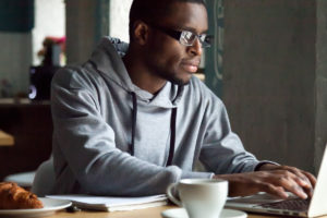 Man practicing more effective remote work