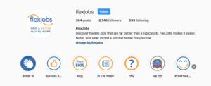 FlexJobs Instagram account highlights