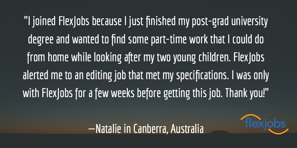 Natalie's quote about finding a job in Australia