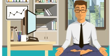 Worker meditating and seeking out health conscious companies