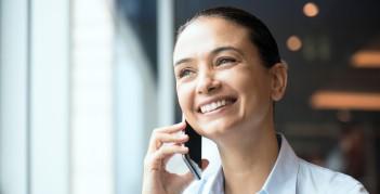 Job seeker on the phone honing her active listening skills.