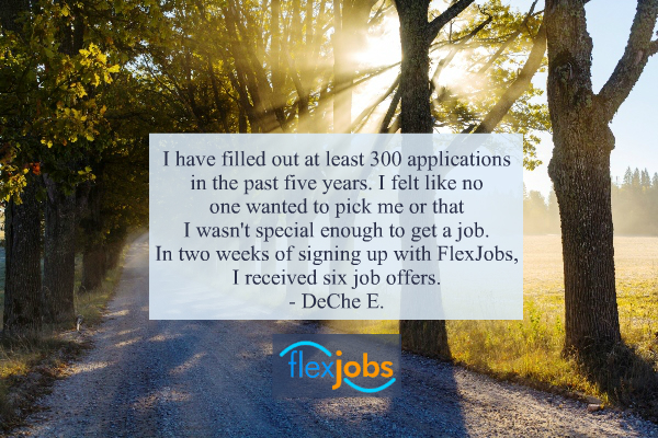 Job seeker DeChe E., talking about finding full-time remote work