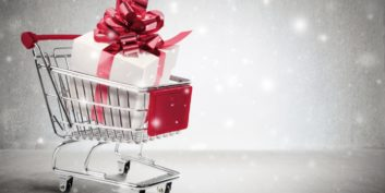 Shopping cart filled with a gift containing the most promising companies for flexible jobs.