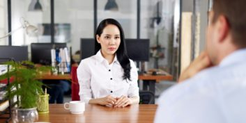 Job seeker interviewing for flexible project management jobs