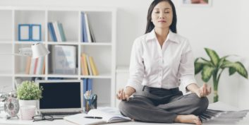 Job seeker taking a yogic approach to beating job search burnout