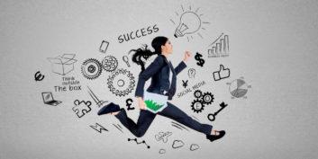 Job seeker running toward her career goals.
