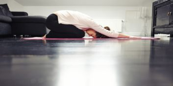 Job seeker using yoga to keep her job search on target.