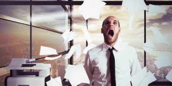 Employee screaming, talking about sources of job stress.