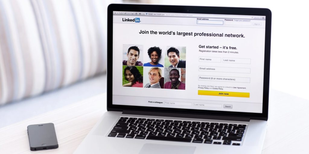 Laptop on LinkedIn demonstrating how to find job training with Linkedin's new program.