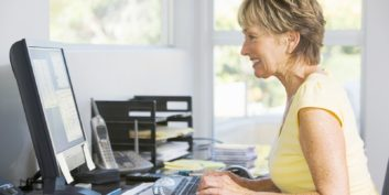 At-home worker learning to reduce stress.