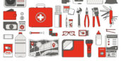 Sign displaying the tools needed for emergency preparedness at work.