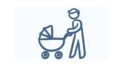 Dad pushing a stroller trying to find paid leave for new dads.