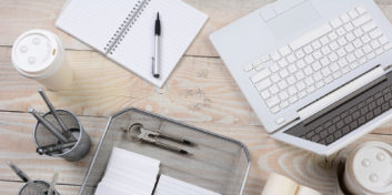 Desk with the most effective ways to work from home.