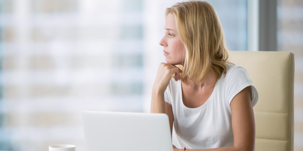 Woman thinking about her professional purpose.