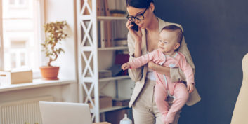 Mother looking at the top jobs for moms