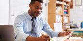 Man with an online teacher job