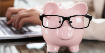 Piggy bank for ways you can save money by working from home.