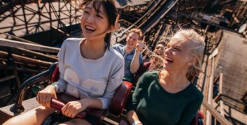 Freelancer with a sense of adventure on a roller coaster