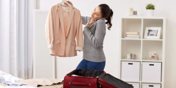 Woman prepping for vacation with a flexible job.