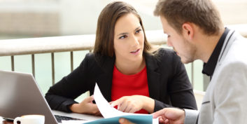 Woman in an informational interview.