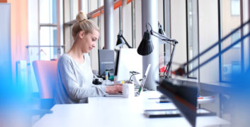 Female working in female-only coworking spaces.