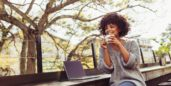 Woman searching for digital nomad jobs now hiring
