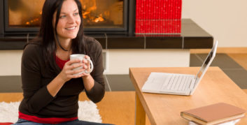 Woman working from home in the winter