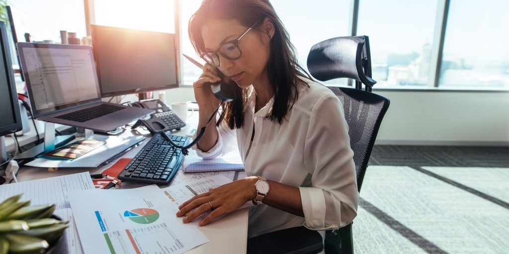 Woman showing management skills in a remote workforce