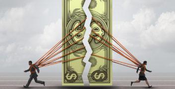 Man and woman splitting the gender earnings gap