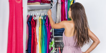 Woman choosing her remote work wardrobe.