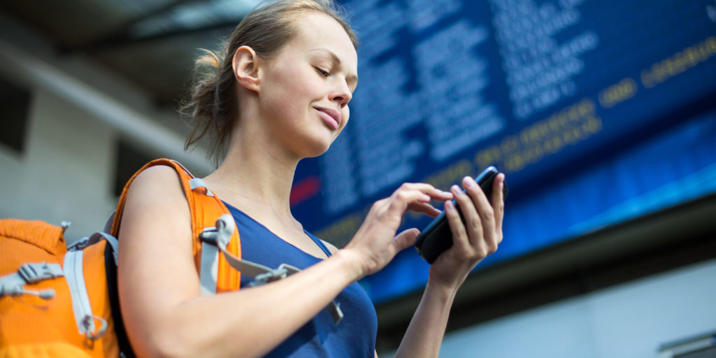Woman using time-management apps