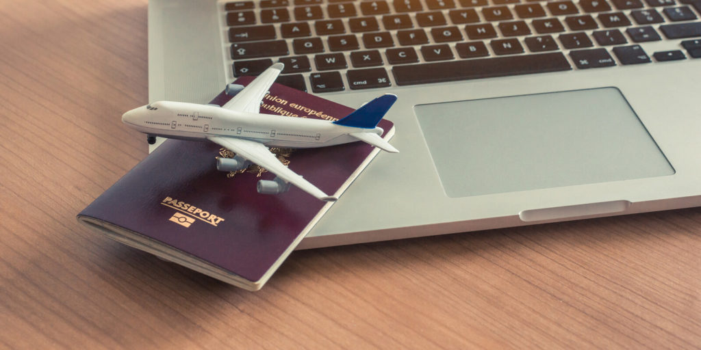 Airplane and passport for work-from-anywhere gigs