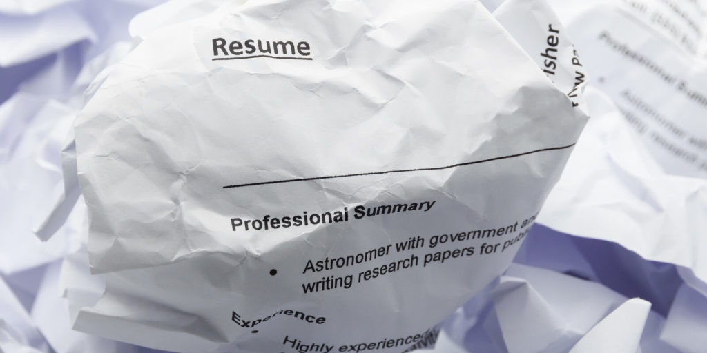 Crumpled paper for what never put on your resume