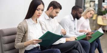 Job seekers going over interview tips for introverts