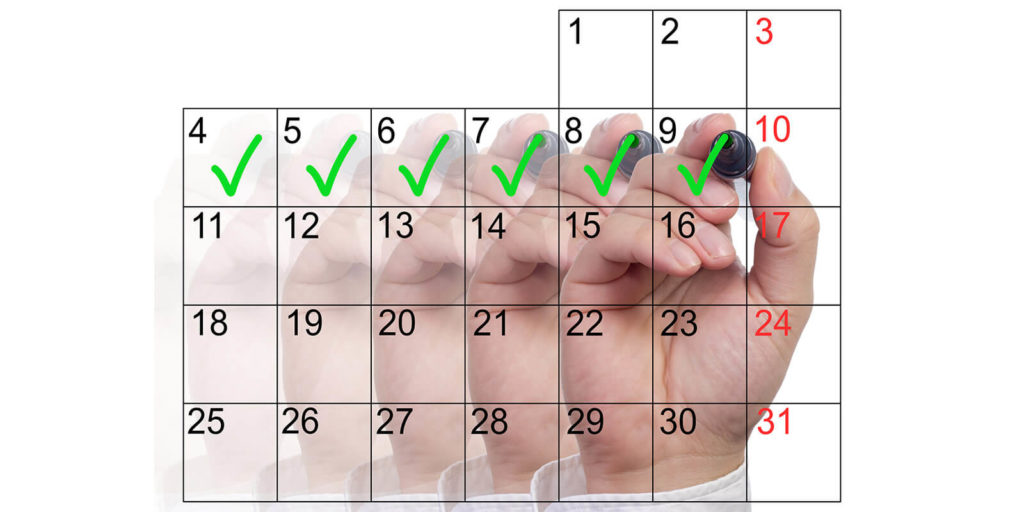 Calendar showing just one day of working from home