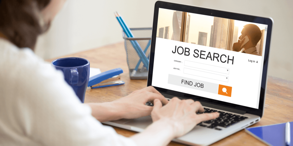 Woman looking at job search success stories from caregivers