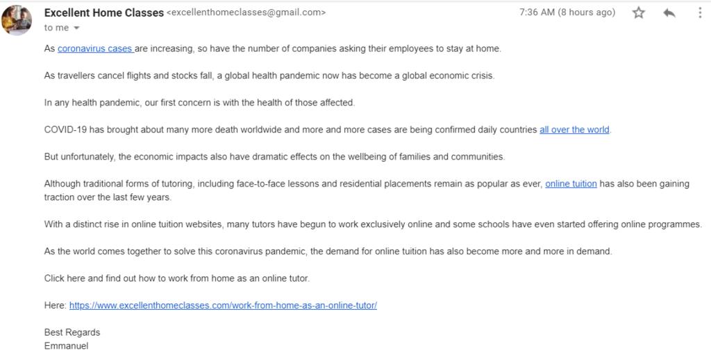 coronavirus job scam email