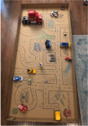 "A picture of the ""box town"" a FlexJobs employee had her child create, while working from home."