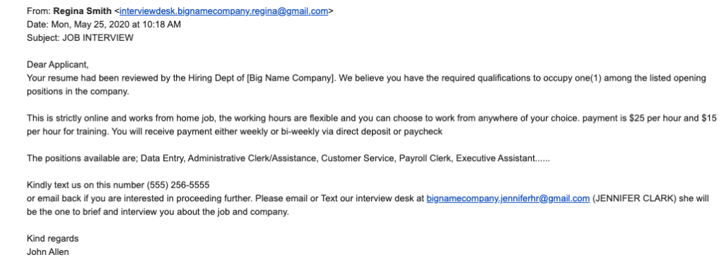 job scam email to applicant