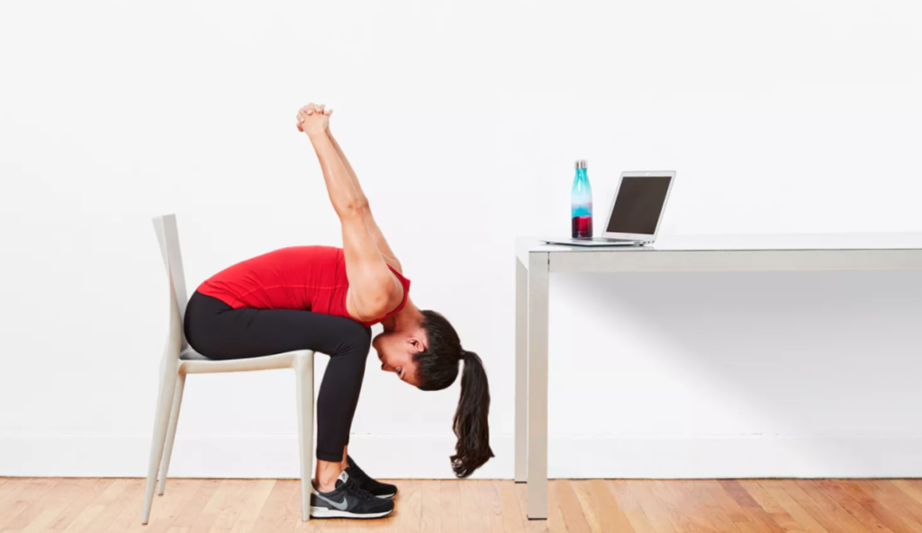 seated forward bend desk yoga