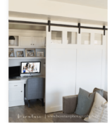 Closet Office with a Curtain Door