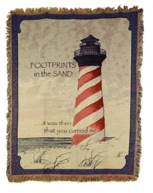 Footprints In The Sand Lighthouse Comfort Tapestry Throws