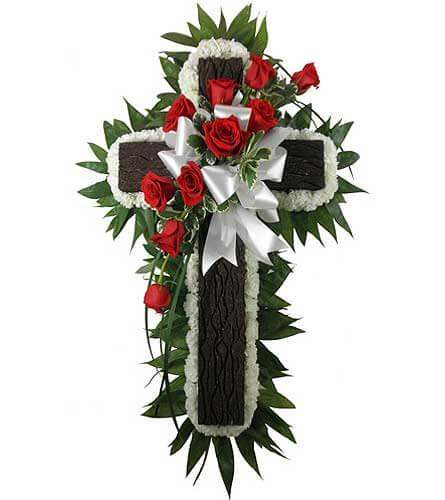 Rustic Cross Funeral Flowers