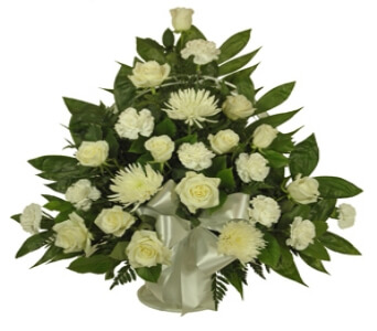 Simple Devotion Sympathy Basket Funeral Flowers