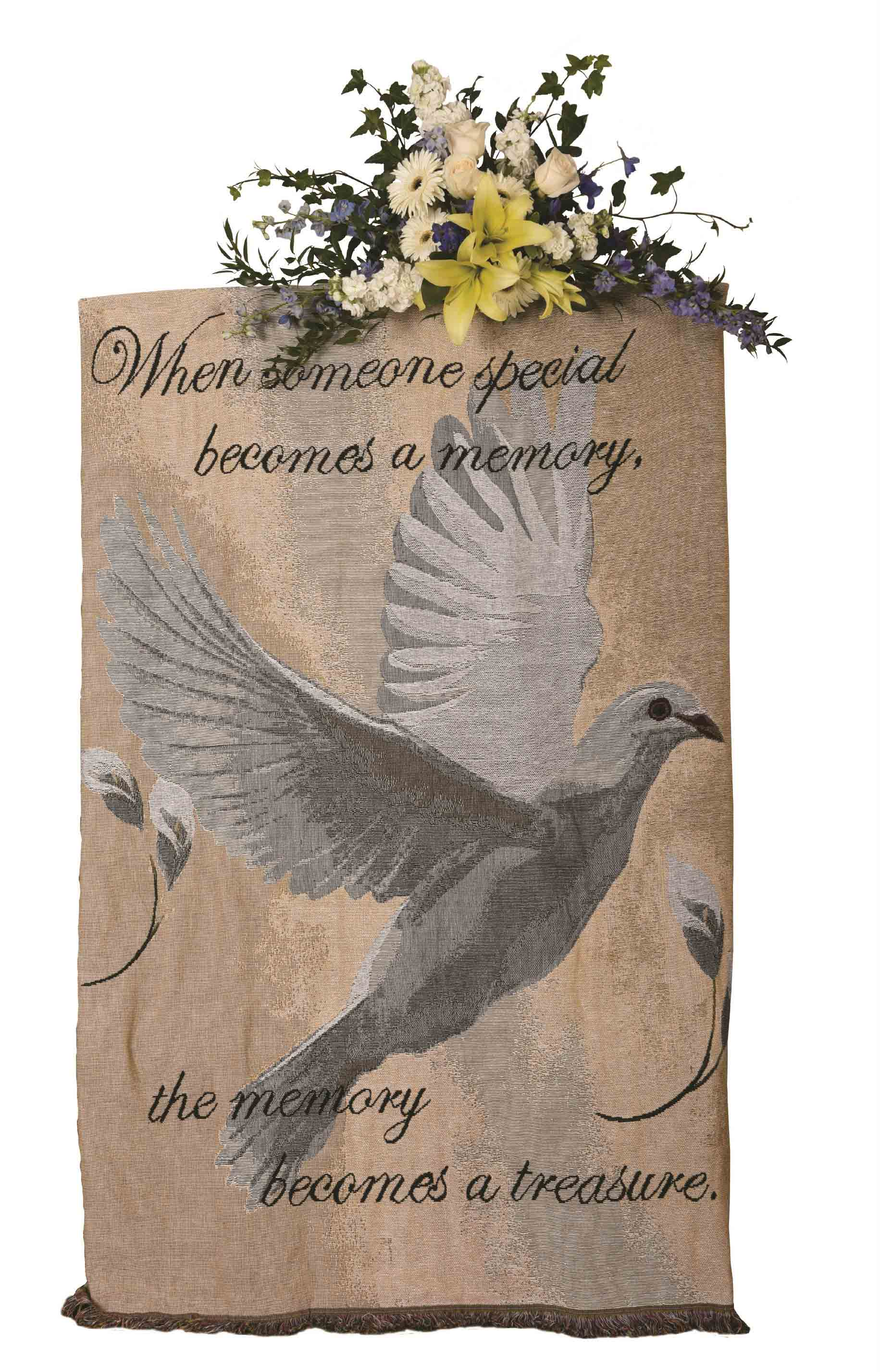 Dove tapestry throw on standing easel with flowers flanner buchanan dove tapestry throw on standing easel with flowers izmirmasajfo