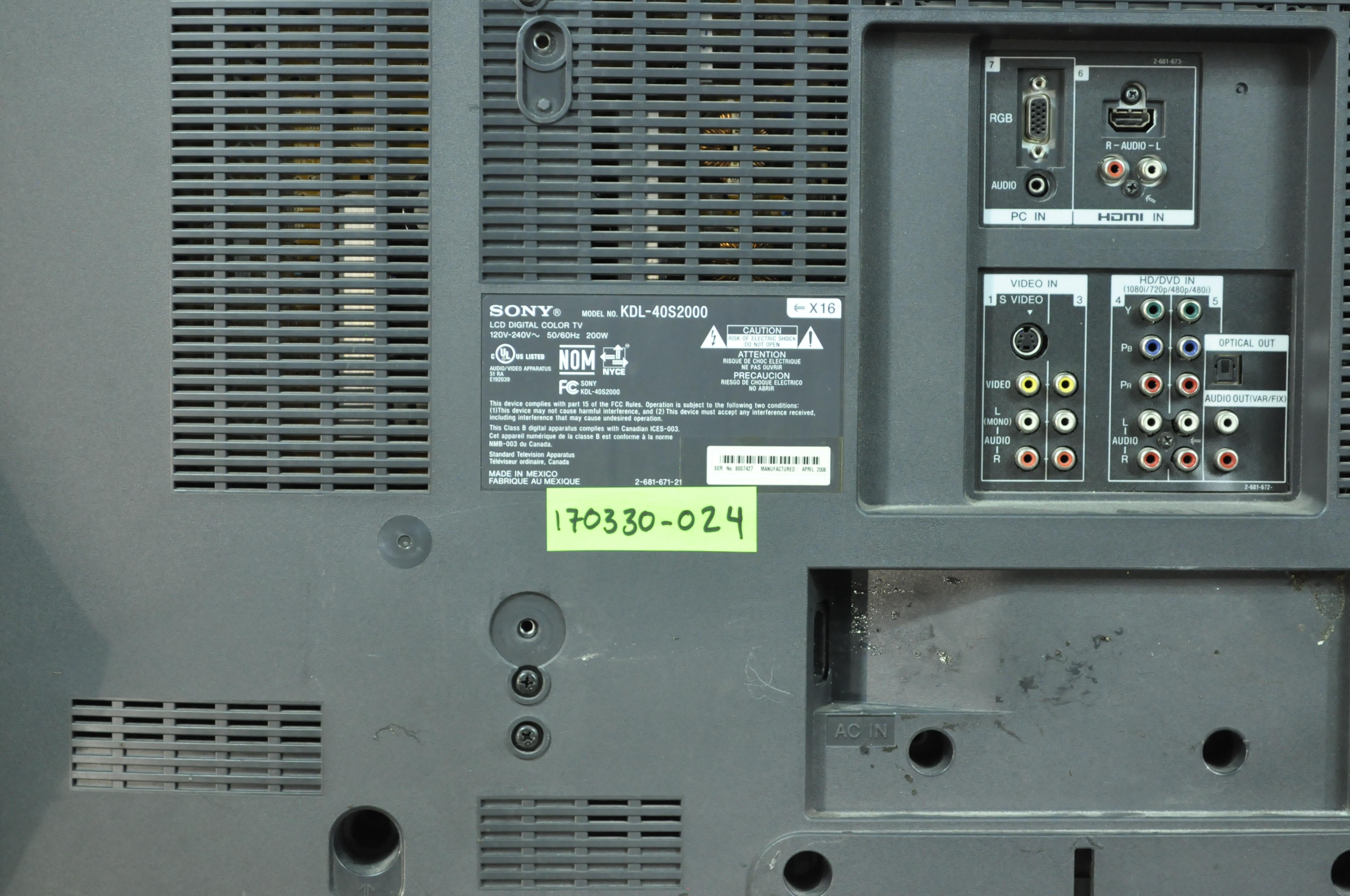 SONY KDL-40S2000 Small Parts Repair Kit QS BOARD