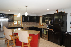 Kitchen with granite countertops and stainless steel appliances